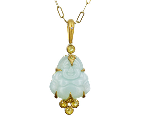 Green Opal and Yellow Diamond Buddha Pendant ONLY