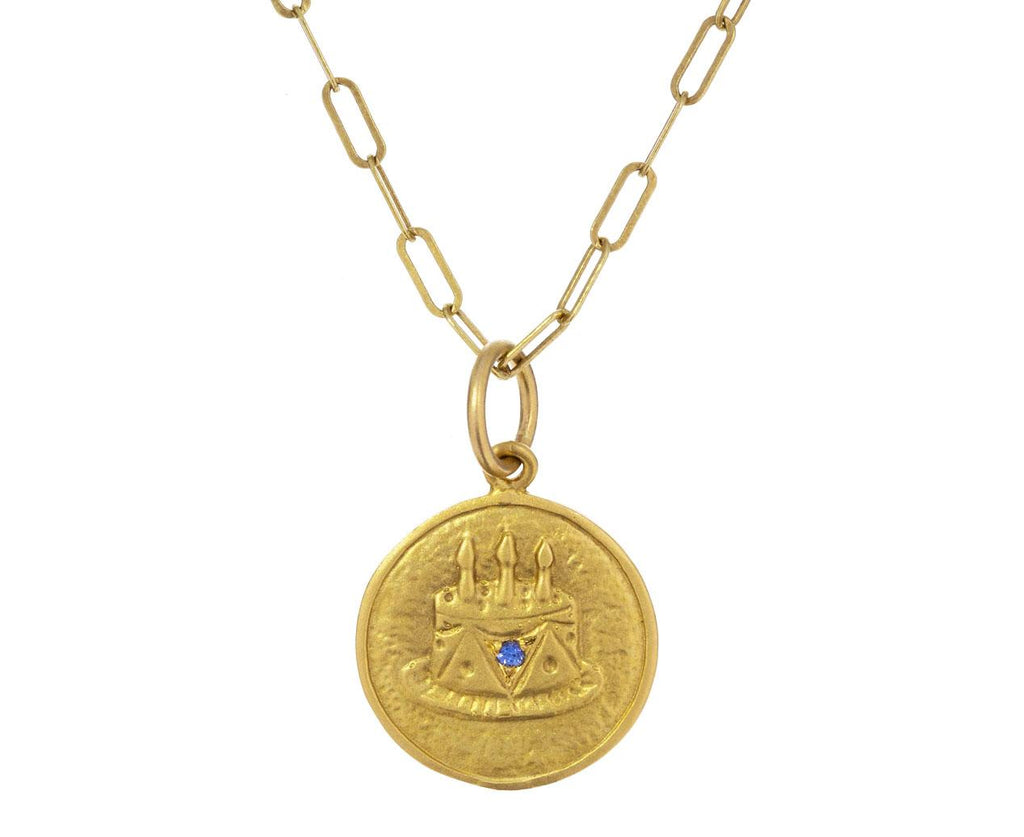 Blue Sapphire Happy Birthday Cake Charm Pendant ONLY zoom 1_cathy_waterman_gold_sapphire_birthday_cake_charm