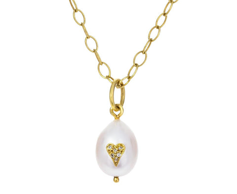 White Pearl and Diamond Heart Charm Pendant ONLY - TWISTonline