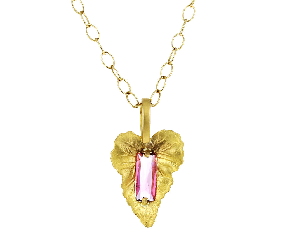 Pink Tourmaline Leaf Pendant ONLY