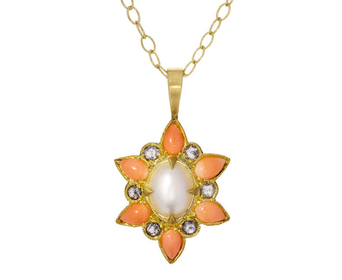 Vintage Coral Pearl and Diamond Pendant ONLY