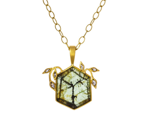 Trapiche Tourmaline Diamond Vine Pendant ONLY