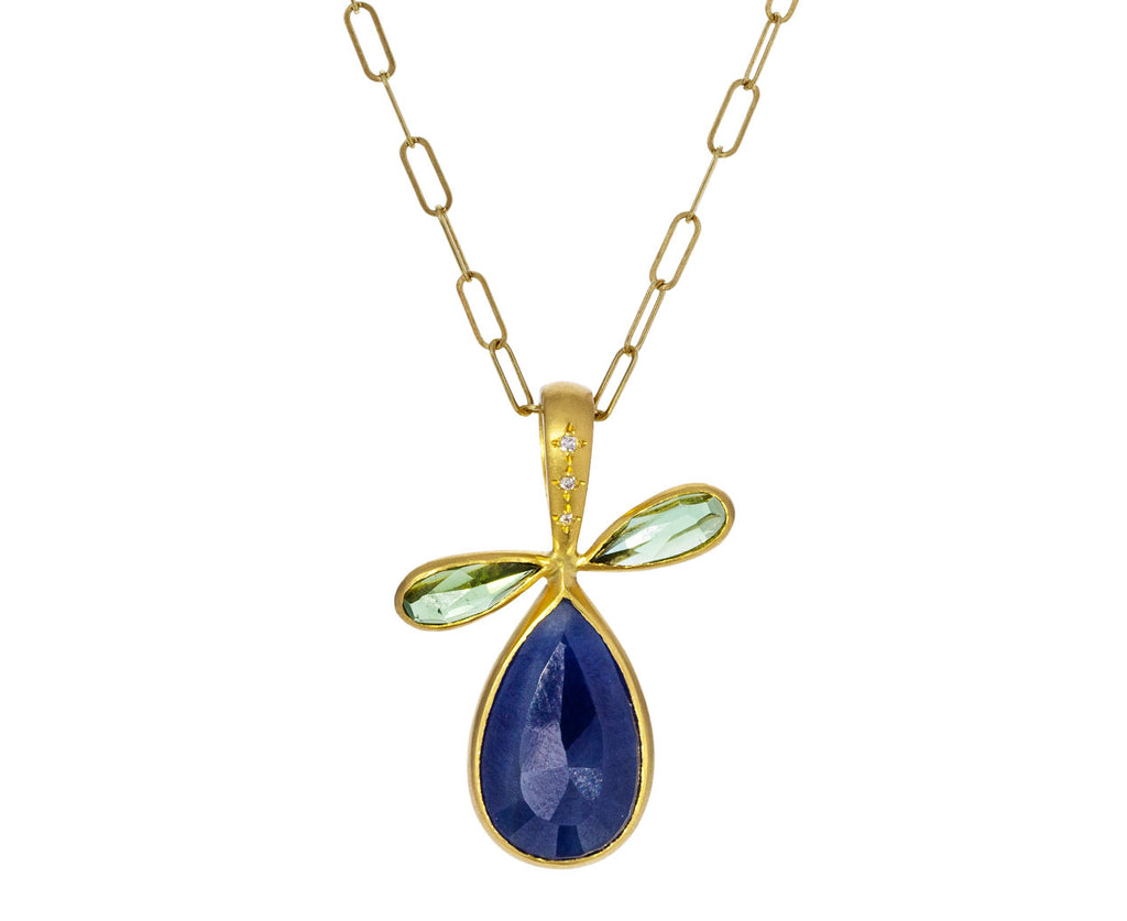 Blue Sapphire and Tourmaline Pear Pendant ONLY