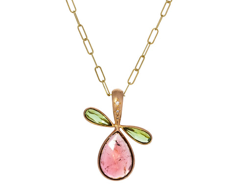 Pink Sapphire and Green Tourmaline Pear Pendant ONLY