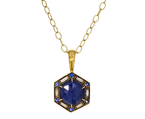 Hexagonal Sapphire and Diamond Pendant ONLY