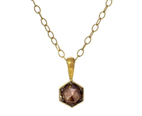 Chocolate Diamond Hex Charm Pendant ONLY