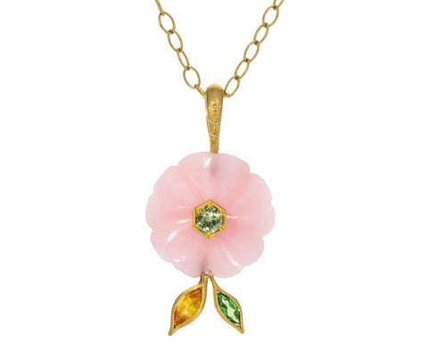 Pink Opal and Tourmaline Flower Pendant ONLY