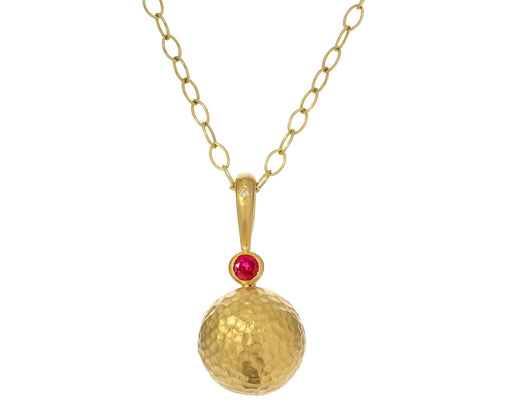 Ruby and Gold Hammered Sphere Pendant ONLY