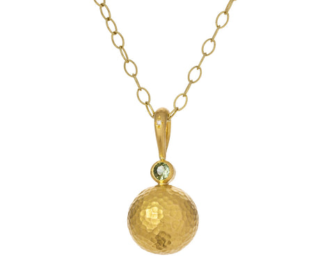 Green Sapphire and Gold Hammered Sphere Pendant ONLY