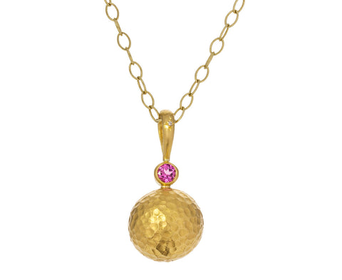 Pink Tourmaline Hammered Sphere Pendant ONLY