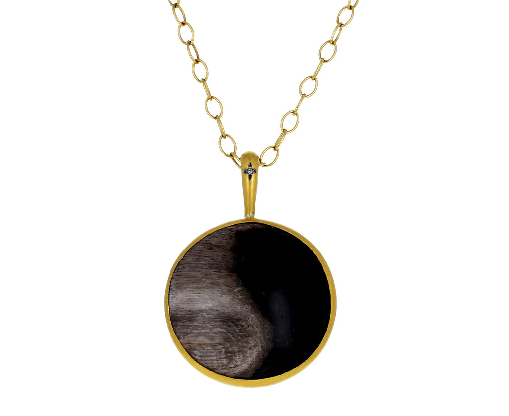 Fossilized Wood Yin Yang Pendant ONLY