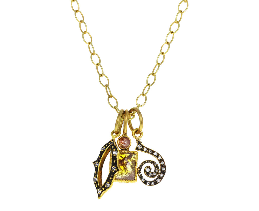 Diamond Curlicue Charm Pendant ONLY
