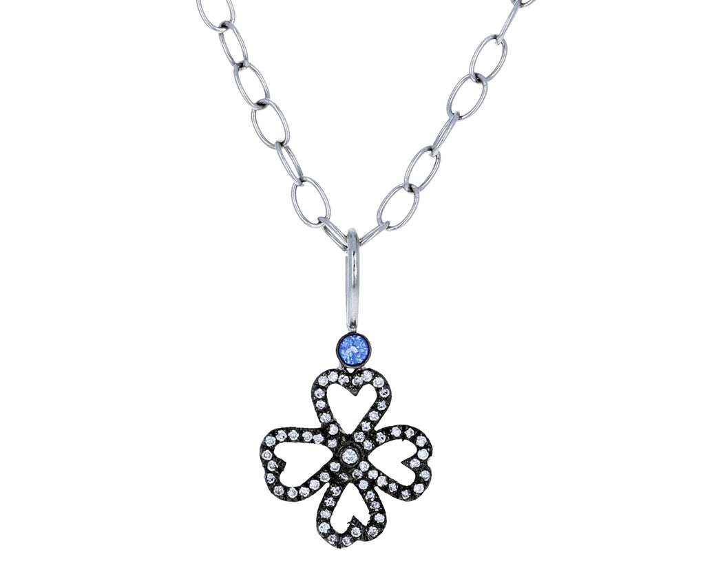 Blue Sapphire and Diamond Clover Pendant ONLY