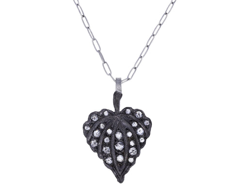 Gray Diamond Leaf Heart Charm Pendant ONLY