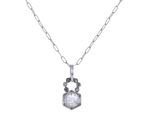Inverted Gray Diamond Hexagonal Charm Pendant ONLY