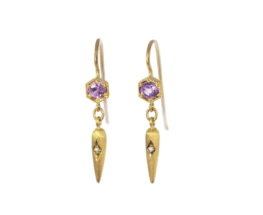 Pink Sapphire Hexagonal Egyptian Drop Earrings zoom 1_cathy_waterman_diamond_sapphire_eqyptian_earring