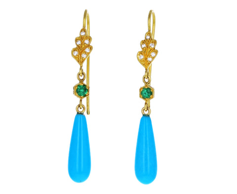 Turquoise, Emerald and Diamond Leaf Top Earrings
