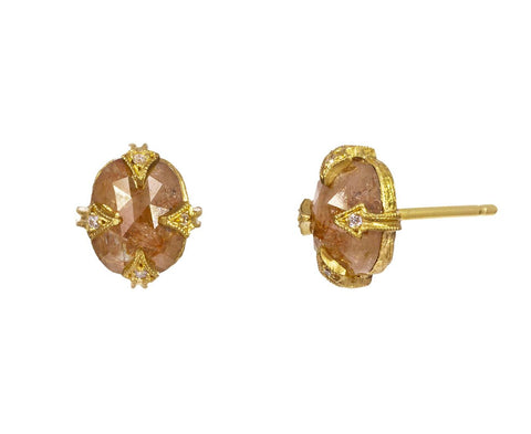 Golden Rustic Diamond Earrings - TWISTonline