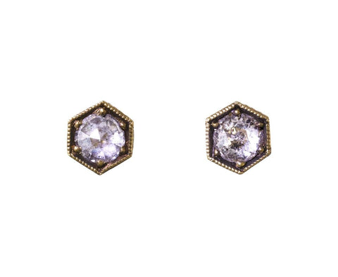 Gold Diamond Hexagonal Post Earrings - TWISTonline