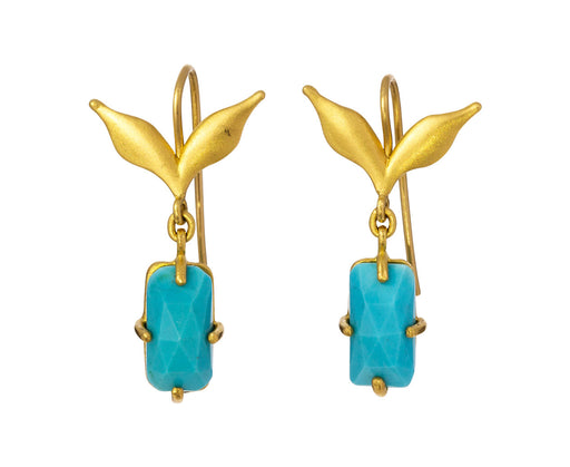 Turquoise Double Leaf Earrings