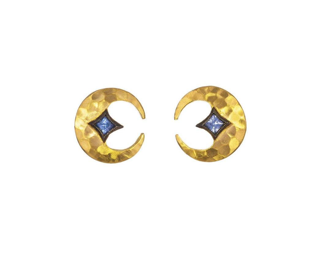 Blue Sapphire Crescent Moon Earrings - TWISTonline