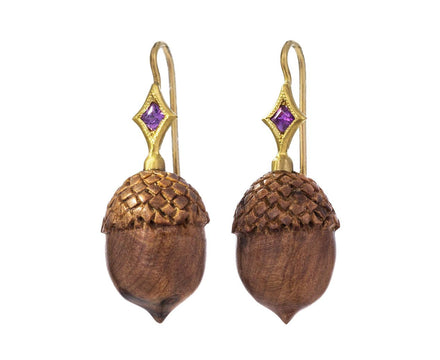 Olive Wood Acorn Earrings with Sapphires - TWISTonline