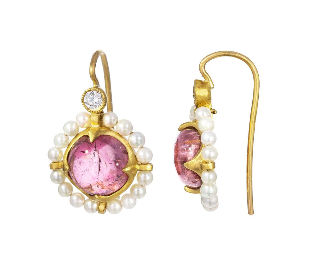 Pink Tourmaline and Akoya Pearl Earrings - TWISTonline