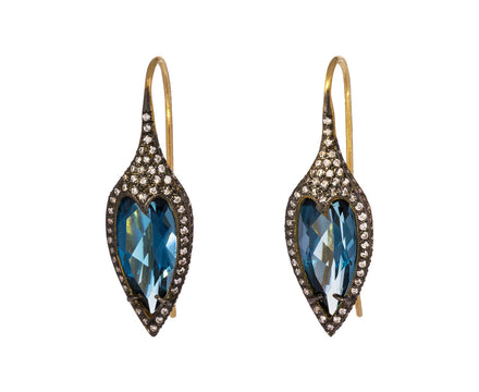 Blue Topaz Jeweled Thorn Earrings - TWISTonline