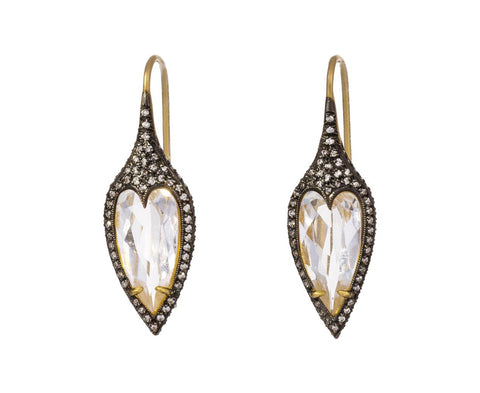 White Topaz Jeweled Thorn Earrings - TWISTonline
