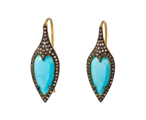Turquoise Jeweled Thorn Earrings