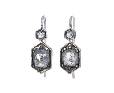 Black and White Cushion Cut Diamond Earrings - TWISTonline