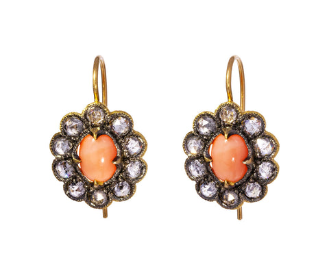 Coral and Diamond Lace Edged Earrings