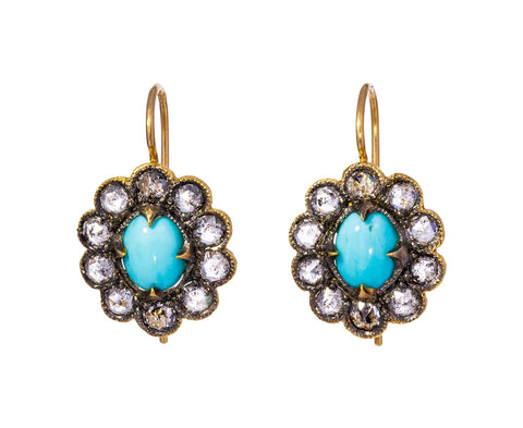 Turquoise and Diamond Lace Edged Earrings