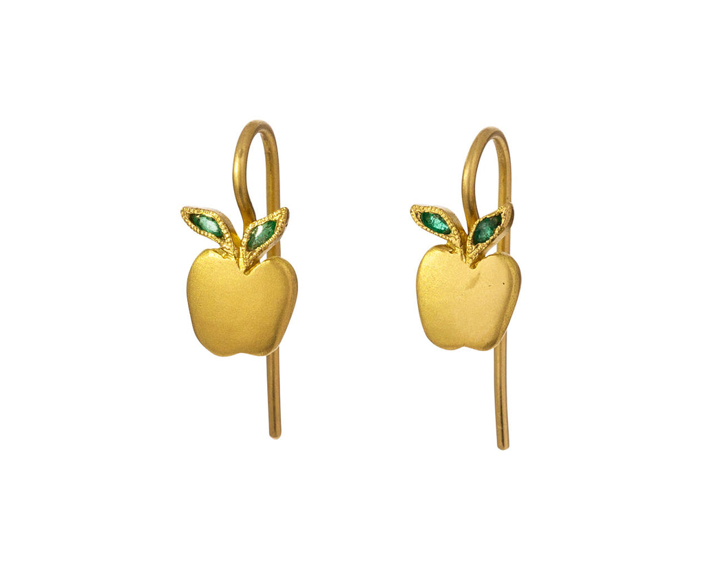 Apple Earrings with Emerald Leaves - TWISTonline