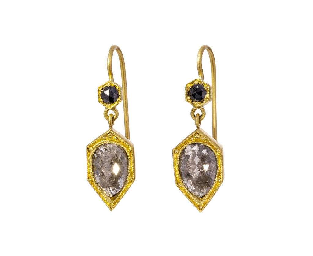 Black and Gray Diamond Earrings