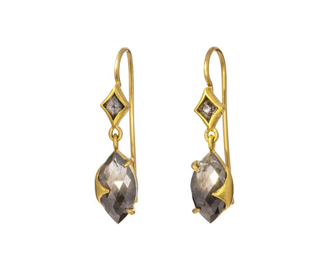 Double Diamond Wrapped Prong Earrings