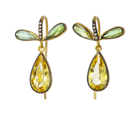 Yellow Beryl and Tourmaline Pear Earrings