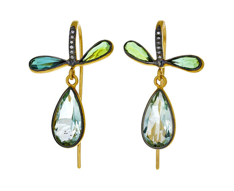 Green Amethyst and Green Tourmaline Pear Earrings