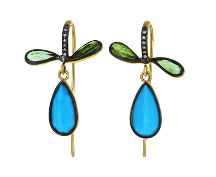 Tourmaline and Turquoise Pear Earrings - TWISTonline