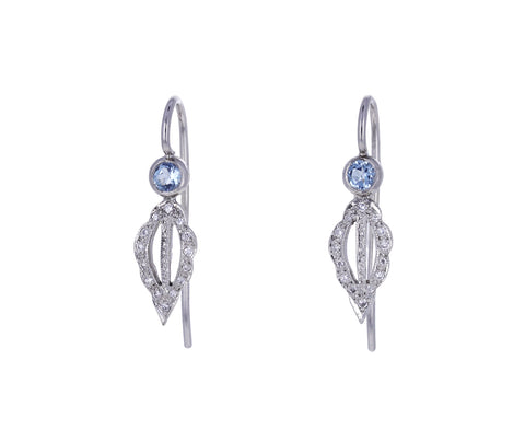 Aquamarine and Diamond Scallop Marquise Earrings