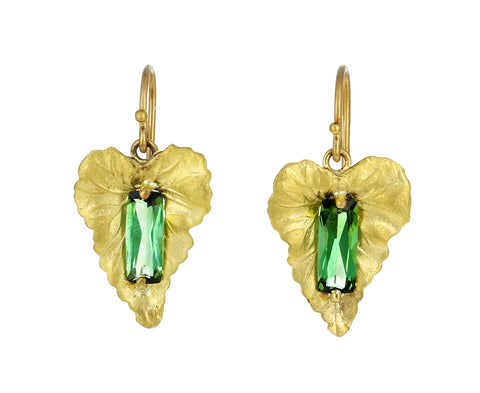 Green Tourmaline Leaf Earrings