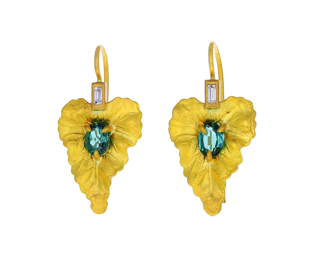 Blue Green Tourmaline Leaf Earrings