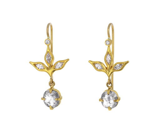 Rustic Diamond Marquise Three Leaf Earrings