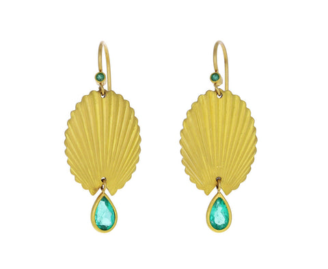 Colombian Emerald Scallop Shell Earrings