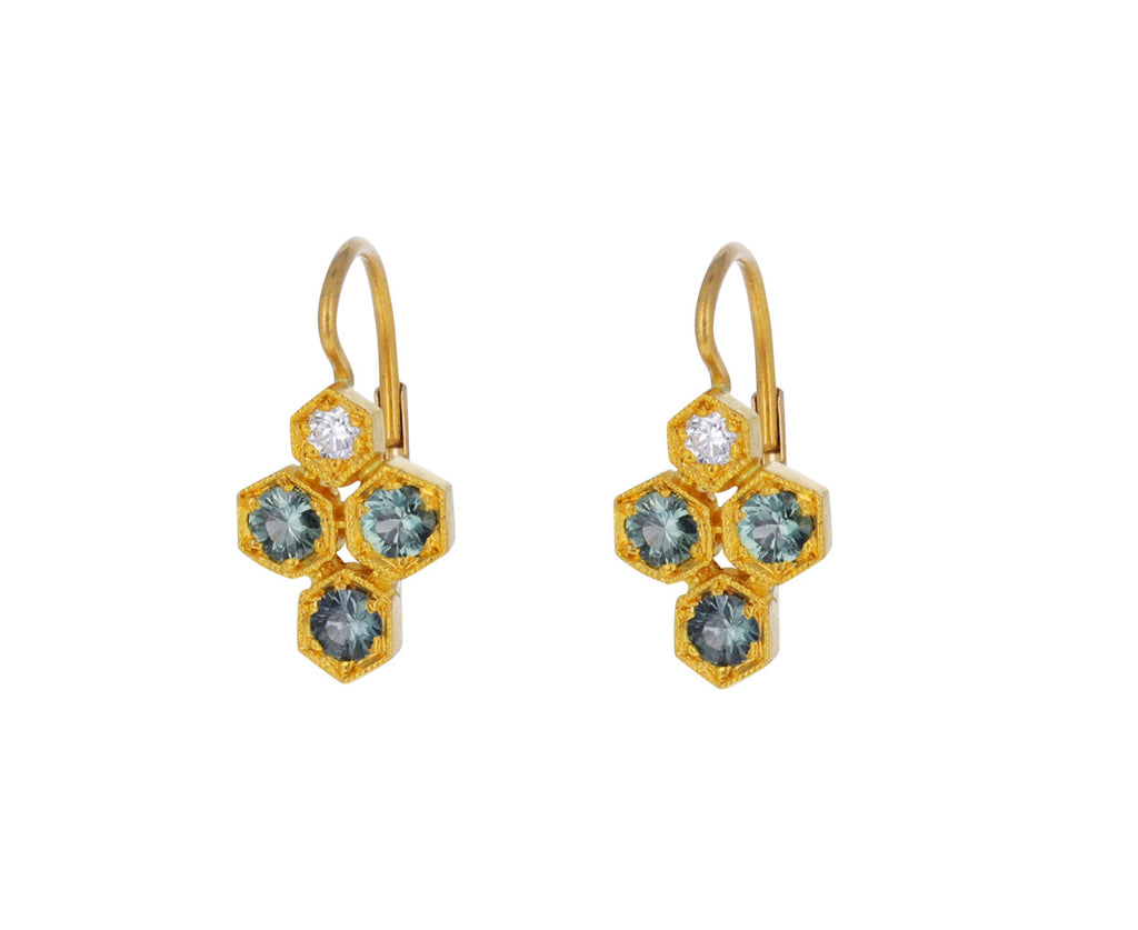 Green Sapphire and Diamond Honeycomb Earrings