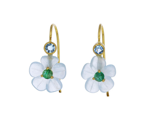 Aquamarine Emerald Jeweled Flower Earrings