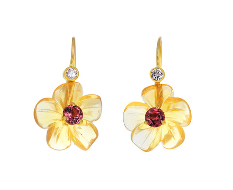 Fire Opal and Pink Tourmaline Jeweled Flower Earrings