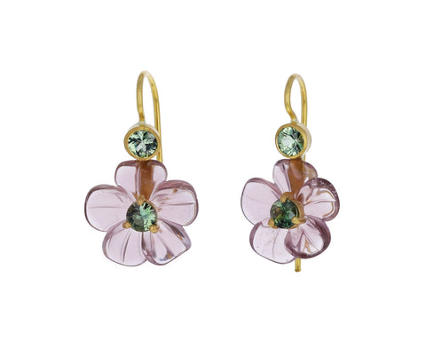 Tourmaline Jeweled Flower Earrings