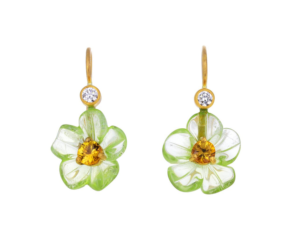 Peridot and Yellow Sapphire Jeweled Flower Earrings