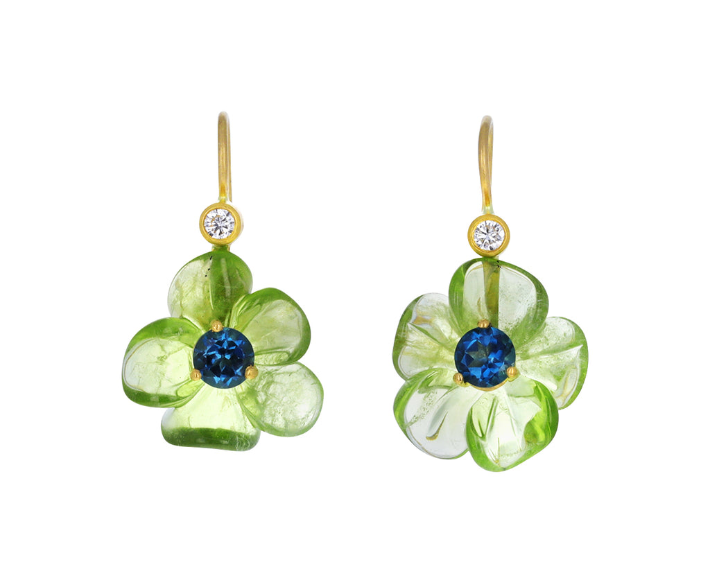 Peridot and London Blue Topaz Jeweled Flower Earrings